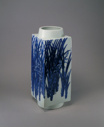 KIYOMIZU Rokuwa (Rokubei V), Square Vase with Orchid Design with Blue Underglaze, 1924