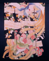 TABATA Kihachi III, Long-sleeved kimono, Phoenix and Paulownia Motif, 1954