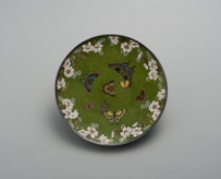 NAMIKAWA Yasuyuki, Plate with cherry blossoms and butterflies, Meiji Period