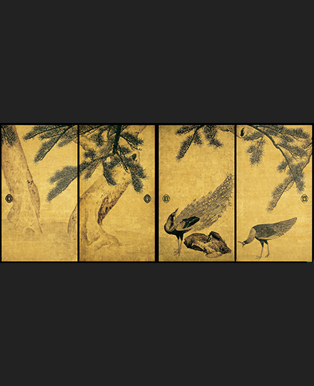 Maruyama Ōkyo, Pine Trees and Peacocks, (4 sliding door panels from a set of 16 sliding door panels), 1795, Daijo-ji Temple, Hyogo, Importan Cultural Property