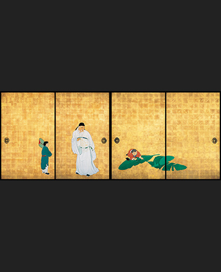 Maruyama Ōkyo, Guo Ziyi and Children, (4 sliding door panels from a set of 8 sliding door panels), 1788, Daijo-ji Temple, Hyogo, Importan Cultural Property, [on view: entire run]