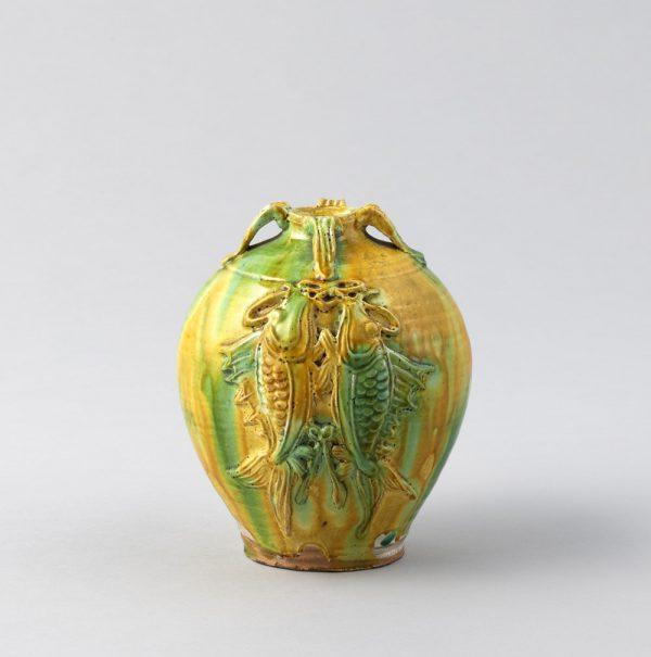 KAWAI Kanjiro, Three-color Glazed Jar of Paired-fish Design, 1922
