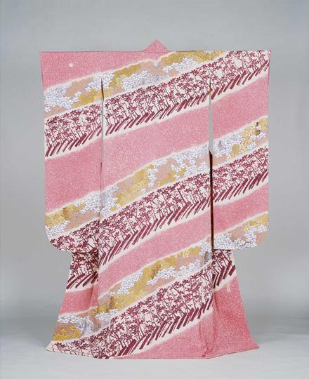 MORIGUCHI Kako, Long-sleeved Kimono: Plum Orchard, 1964