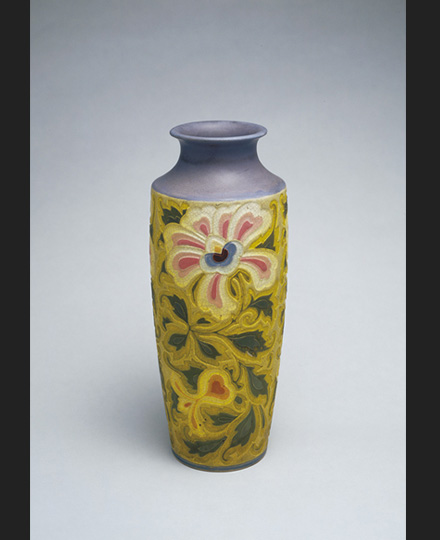 KIYOMIZU Rokubei V, Flower Vase with Peony in Scroll Style, Otowa Ware, 1927