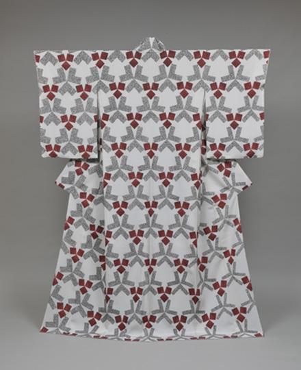 Yuzen kimono, topology of geometric design on white ground, 'Minori' (Ripening) , 2013, Isetan Mitsukoshi Holdings