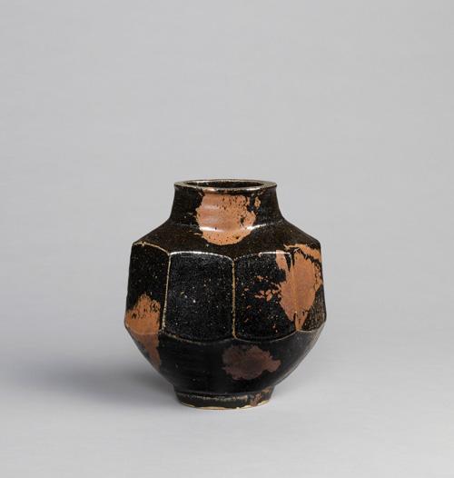 KAWAI Kanjiro, Splashed Iron Glazed Faceted Flat Jar, 1940