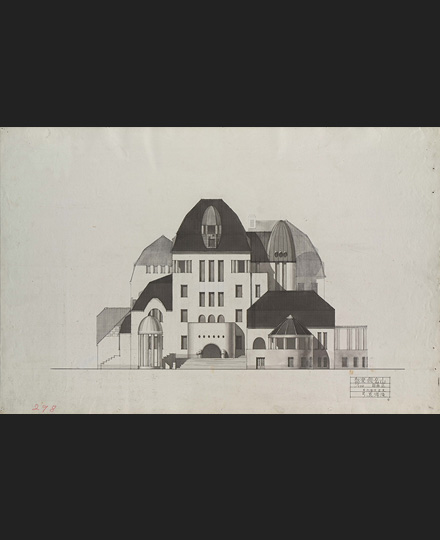 Mayumi Takizawa, Graduation project, Mountain House Club, front view, 1920, Department of Architecture, The University of Tokyo