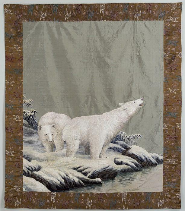 Tapestry of Silk Embroidery with Polar Bears, 1868-1912
