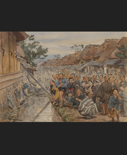 Charles WIRGMAN, Village Crowd Watching a Spectacle