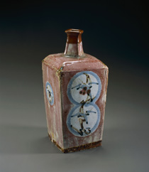 Kawai, Kanjiro, Square Jar with Circle Design with Cinnabar Glaze, c.1938