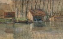 浅井忠《ロワン河畔洗濯場》 1901年