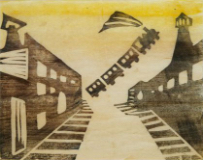 谷中安規《汽車空を飛ぶ》 1933年