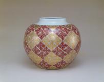 富本憲吉《色絵金彩羊歯模様大飾壺》 1960年