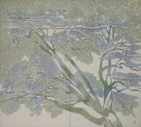 稲垣稔次郎《型染 青楓の図屏風》 1948年