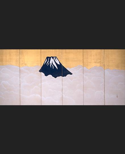 横山大観《群青富士》(右隻) 1917(大正6)年頃 静岡県立美術館