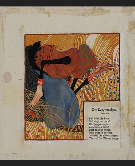 フェルディナント・アンドリ《ライ麦おばさん(アウグスト・コピッシュ『精選詩集』「ゲルラハ青少年叢書 第13巻」のための挿画)》1903年頃 京都国立近代美術館