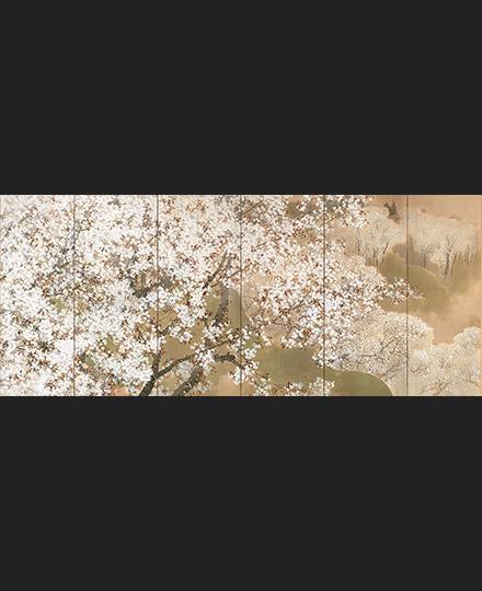 菊池芳文《小雨ふる吉野》(左隻) 1914(大正3)年 東京国立近代美術館