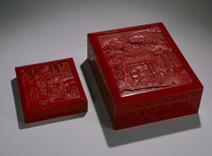 二十代堆朱楊成《山水図屏風意堆朱彫文庫及硯箱》1918年