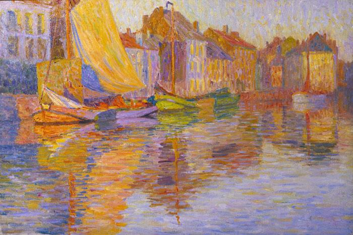 太田喜二郎《水辺の街》1908-1913年