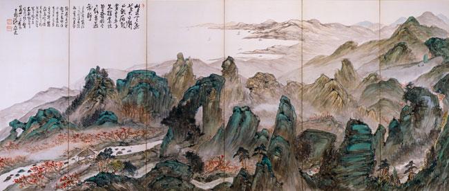 富岡鉄斎《富士遠望図・寒霞溪図》(左隻)1905年(展示期間:8月25日~10月4日)