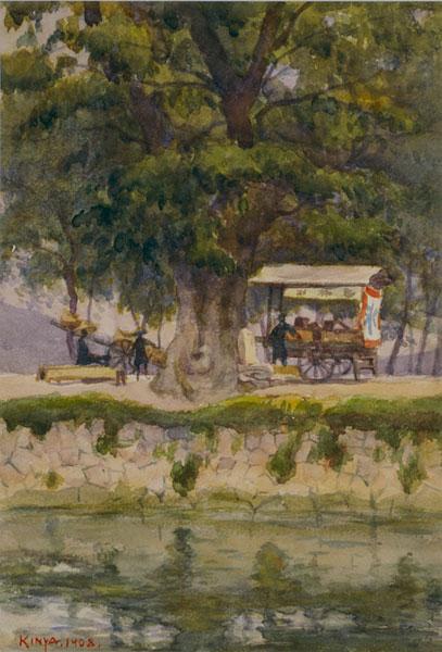 新井謹也《京都加茂川畔》1908年