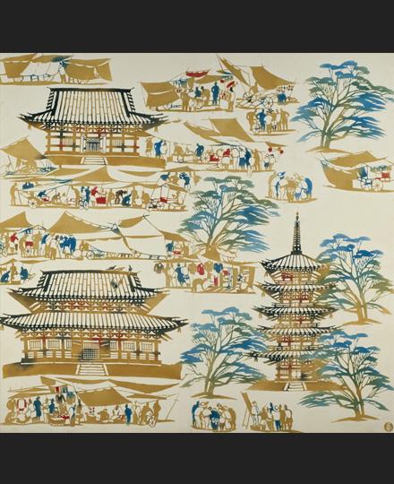 稲垣稔次郎《型染壁掛「東寺の縁日」》1952(昭和27)年頃