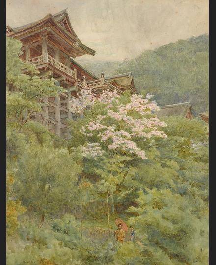 ウォルター・ティンデル 《ユダの木と清水寺》 個人蔵