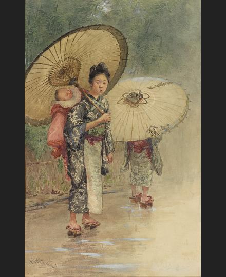 満谷国四郎 《傘をさす子守の少女》 個人蔵