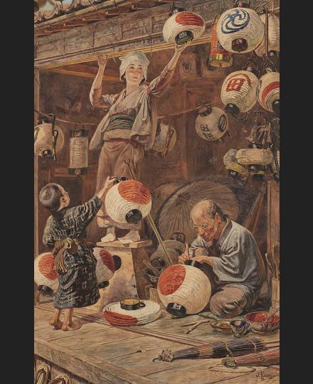 笠木治郎吉 《提灯屋の店先》 1890 -1912 年頃 個人蔵