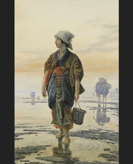 笠木治郎吉 《牡蠣を採る少女》 個人蔵