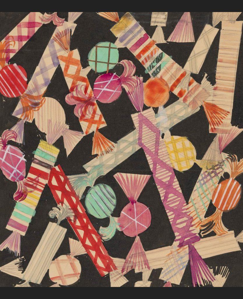 《プリント絹服地デザイン:キャンディ》1935-44年